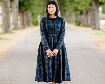 Plaid Linen Dress,Baltic Linens,Blue Tartan Dress, Cottagecore Fashion,Versatile,Washed & Soft Linen,Vintage,Long Sleeve Dress/Classic Dress