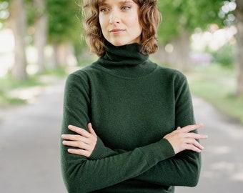 Turtleneck Sweater - Womens Turtleneck - Green Turtleneck -Long Sleeve Merino Wool Turtleneck -Capsule Wardrobe -Willow High Neck, Evergreen