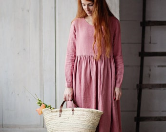 Women Linen Dress, Pink Dress, Boho Maxi Dress, Plus Size Clothing, Long Sleeve Dress, High Waist Dress, Linen Clothing/ Pink Smock Dress LS