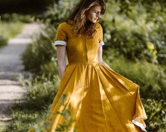 Linen Dress, Linen Clothing, Son de Flor Dress, Mustard Dress, Peter Pan Collar Dress, Short Sleeve Dress,Yellow Dress,Vintage/Classic Dress