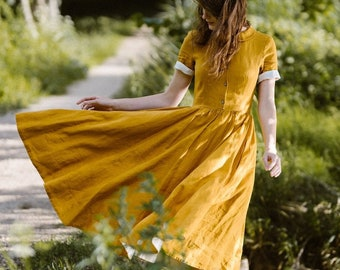 Linen Shirt Dress, Mustard, Flare Dress, Vintage Style,Summer Linen Dress,Soft on Skin,Minimalist Dress, Short Sleeve,Marigold/Classic Dress