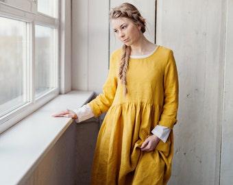 Mustard Linen Dress, Linen Clothing, Linen Maxi Dress, Long Sleeve Linen Smock Dress, Knee Length Midi Dress/ Yellow Dress Daffodil Smock LS