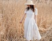 Linen Shirt Dress, White Linen Dress, White Summer Dress, Edwardian Dress, Linen Clothing, Peter Pan Collar Dress Symphony White Classic SS