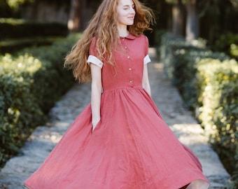 c95a0534e4 Rust linen dress