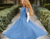 Linen Dress, Peter Pan Collar Dress, Shirt Dress, Linen Clothing, Casual Wedding Dress, Women Maxi Dress Classic Dress SS, Denim