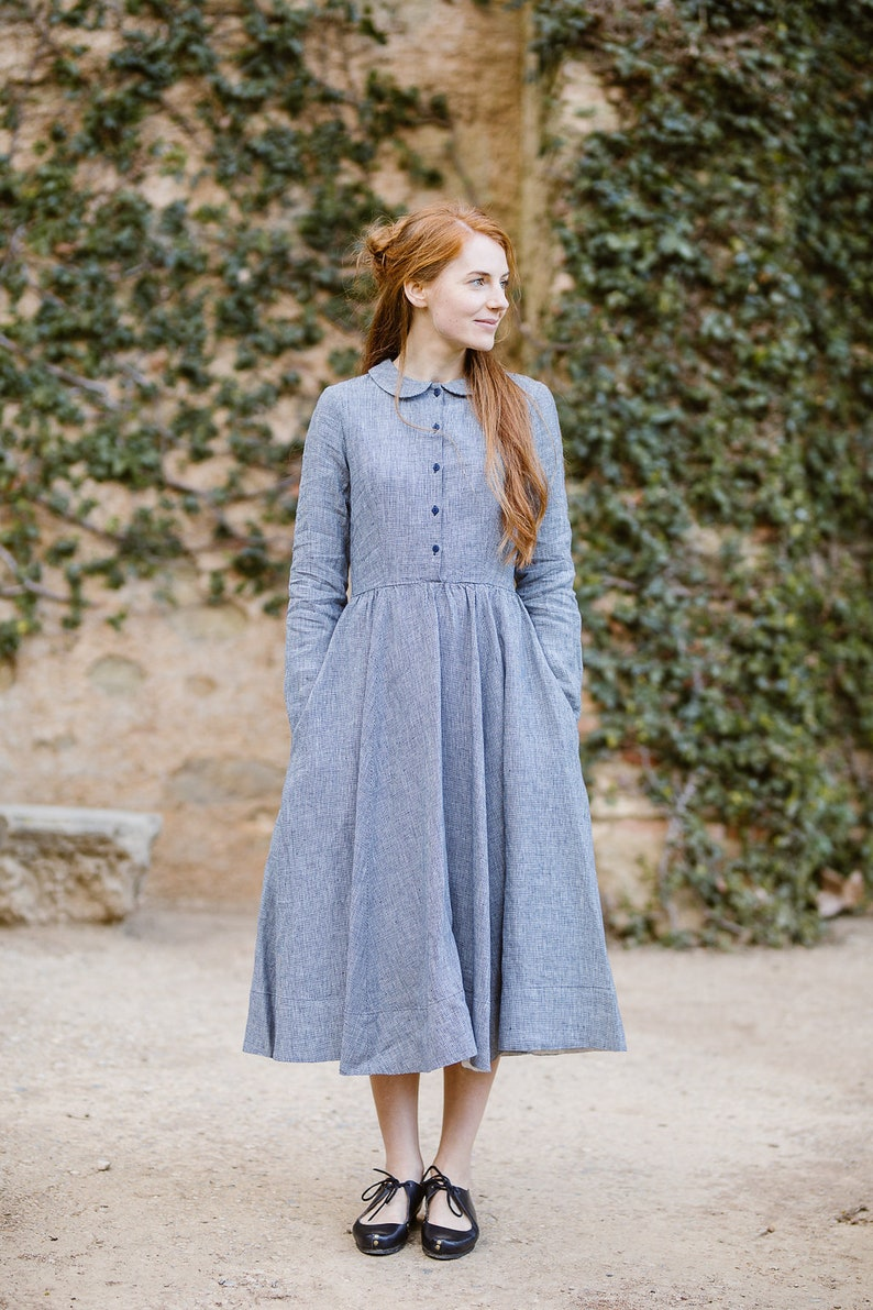 9d9e521a96d Linen Dress Linen Clothing Prairie Dress Summer Midi Dress