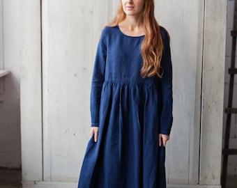 Linen Dress, Navy Blue, Smock Long Sleeve Dress, Bluebell Color Dress, Hand Made Dress, Loose Dress, Women Fashion / Bluebell Smock LS