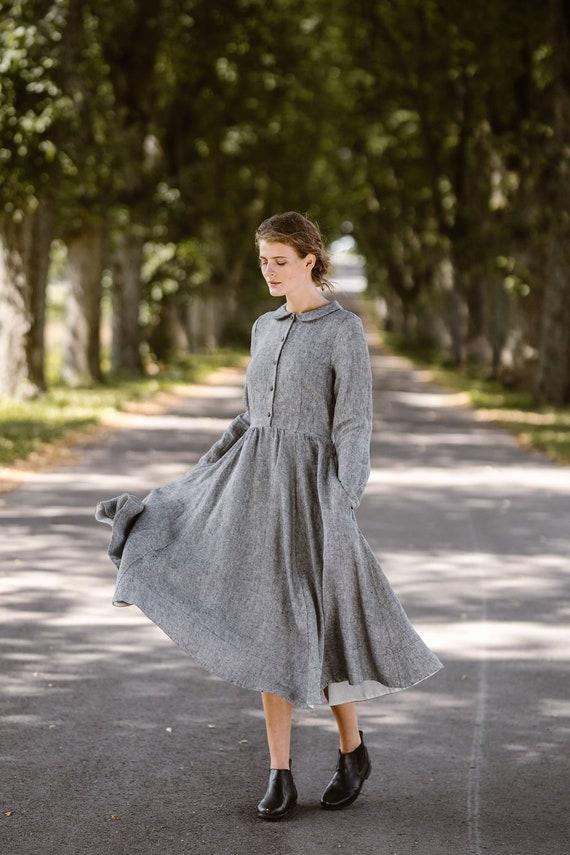 Linen Dress, Gray Dress, Shirt Dress, Plus Size Clothing, Collared Dress,  Modest Dress,Prairie Dress,Minimalist Dress/Classic dress LS Twill