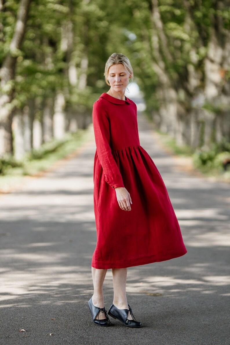 Peter Pan Collar Dress Holiday Dress Long Sleeve  Laelia Dress Red Linen Dress Red Christmas Dress Midi Linen Dress High Waist Dress