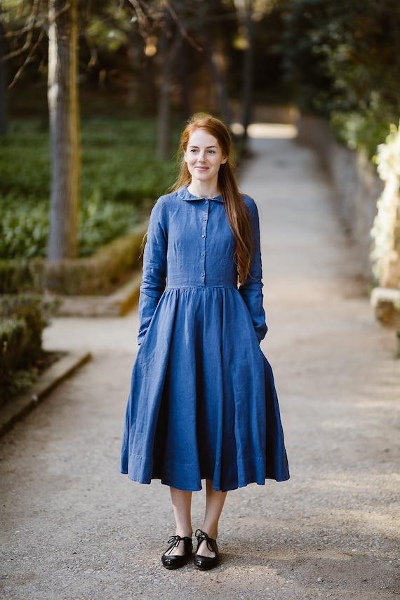 Blue Linen Dress, Denim Dress, Plus Size Dress, Maxi Dress, Linen Women  Dress, Peter Pan Collar, Country Dress, Long Sleeve/Classic Denim LS