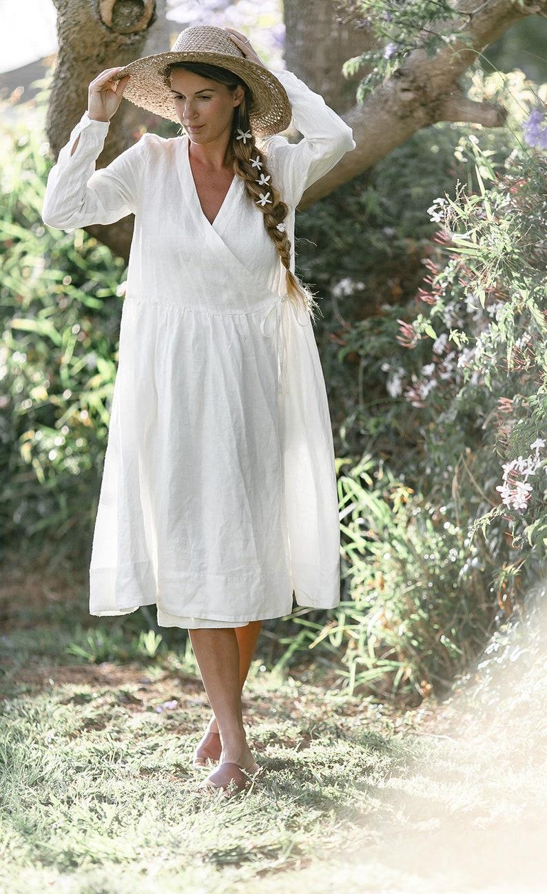 Wrap Dress Plus Size Linen Dress Woodland Clothing Edwardian Dress  Wrap Dress White Midi Dress White Boho Dress White Linen Dress
