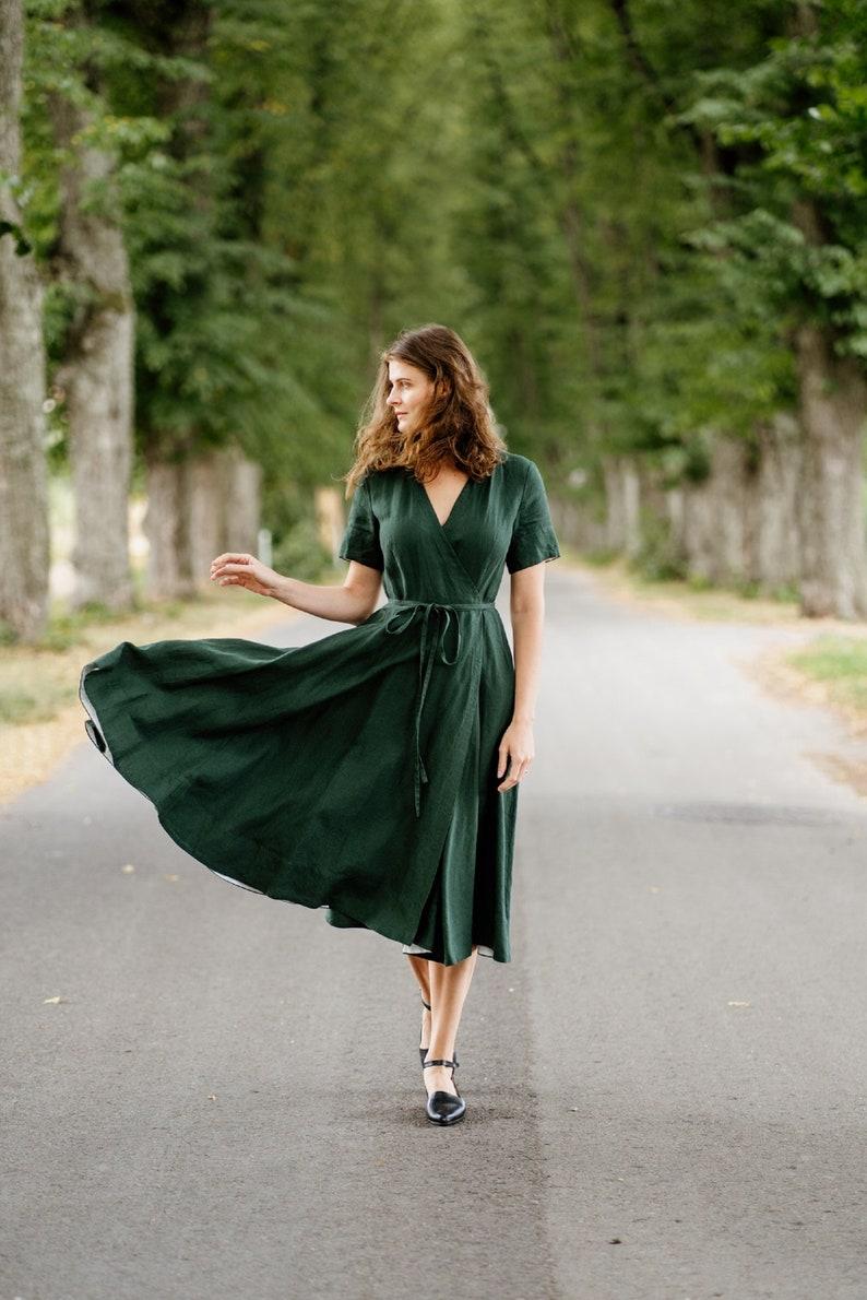 Evergreen Linen DressMost Comfortable Linen WrapBreathable & image 0