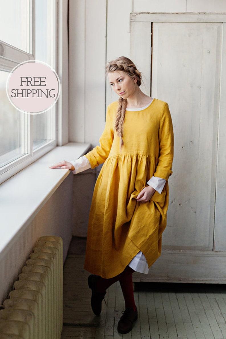 befe948095ffe Mustard Linen Dress, Women Linen Clothing, Linen Maxi Dress, Yellow Dress,  Modest Dress, Midi Dress/ Yellow Daffodil Smock Dress LS