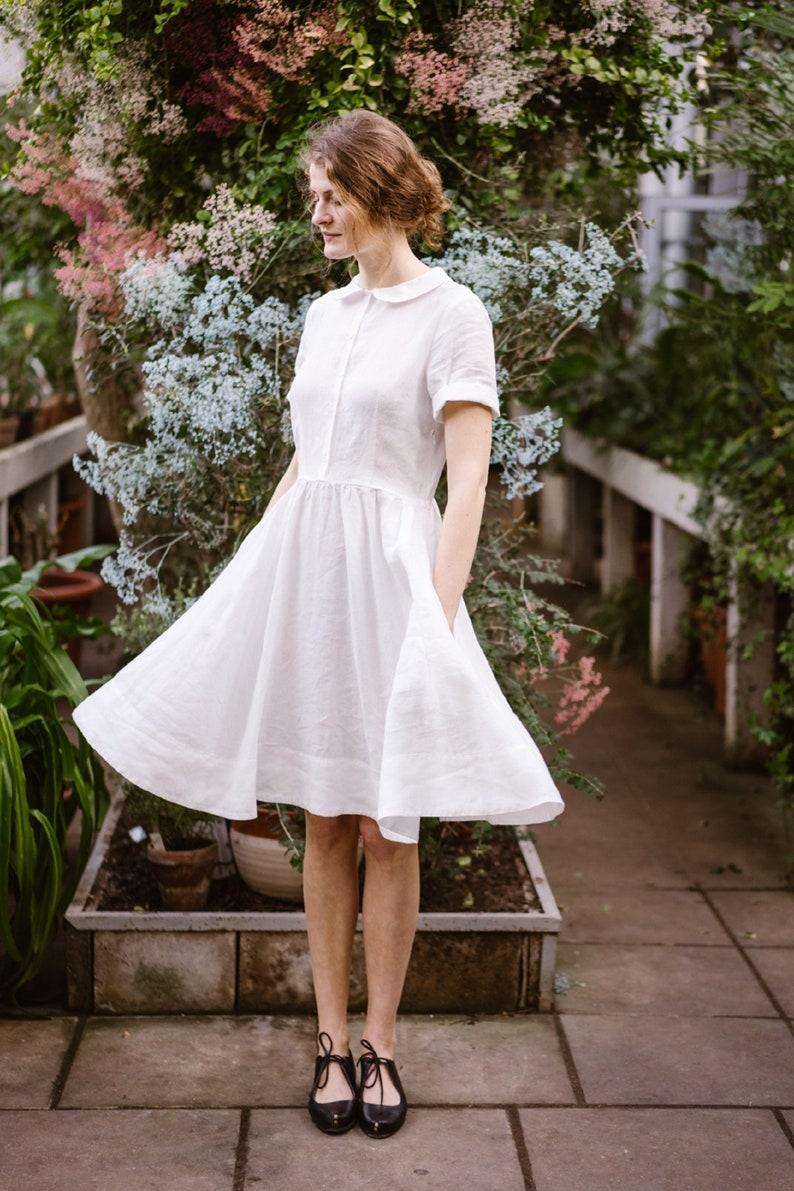 Classic Dress,Linen Shirt Dress Short Pink Linen Dress,Pink Dress,Elegant Summer Dress,Son de Flor Dress Vintage StyleShort Classic Dress