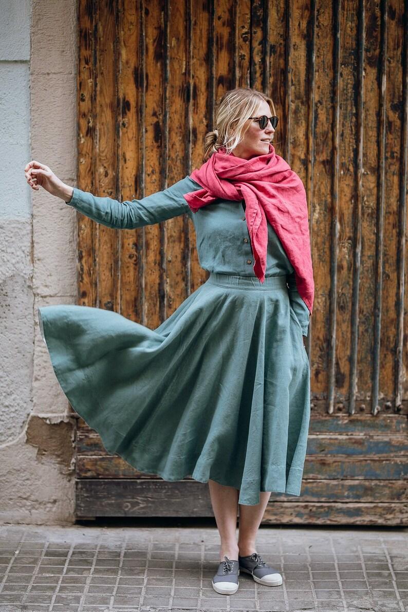 903a1efb44d Linen Skirt Midi Skirt Skirt For Women Plus Size Linen