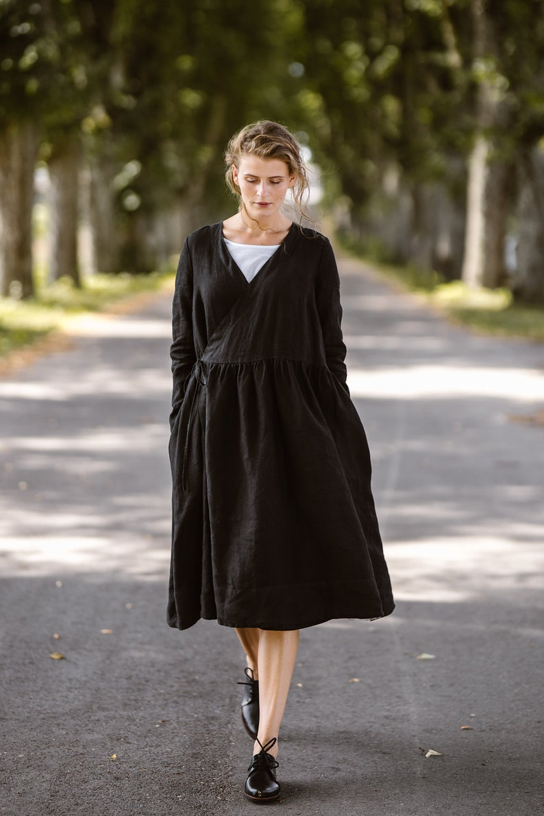 Flax Clothing Wrap dress Black Black Linen Dress Plus Size Linen Dress Wrap Dress Linen Kimono Dress Linen Dress Linen Clothing
