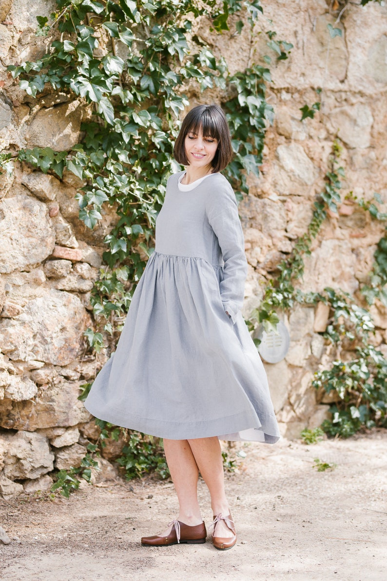 d30b4f06d29 Smock Dress Modest Dress Linen Dress Silver Dress Long