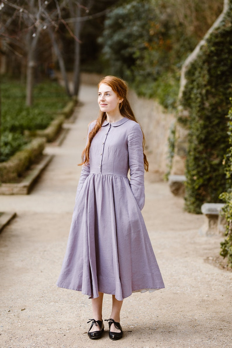 6f9f1ab52f4 Linen Dress Modest Dress Lavender Dress Long Women Dress