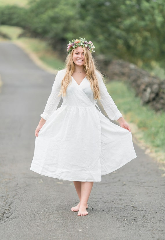 Plus Size Linen Dress, Plus Size Clothing, White Linen Dress, Maternity  Photo Props, Plus Size Wedding Dress, Maternity Clothing, Linen Wrap