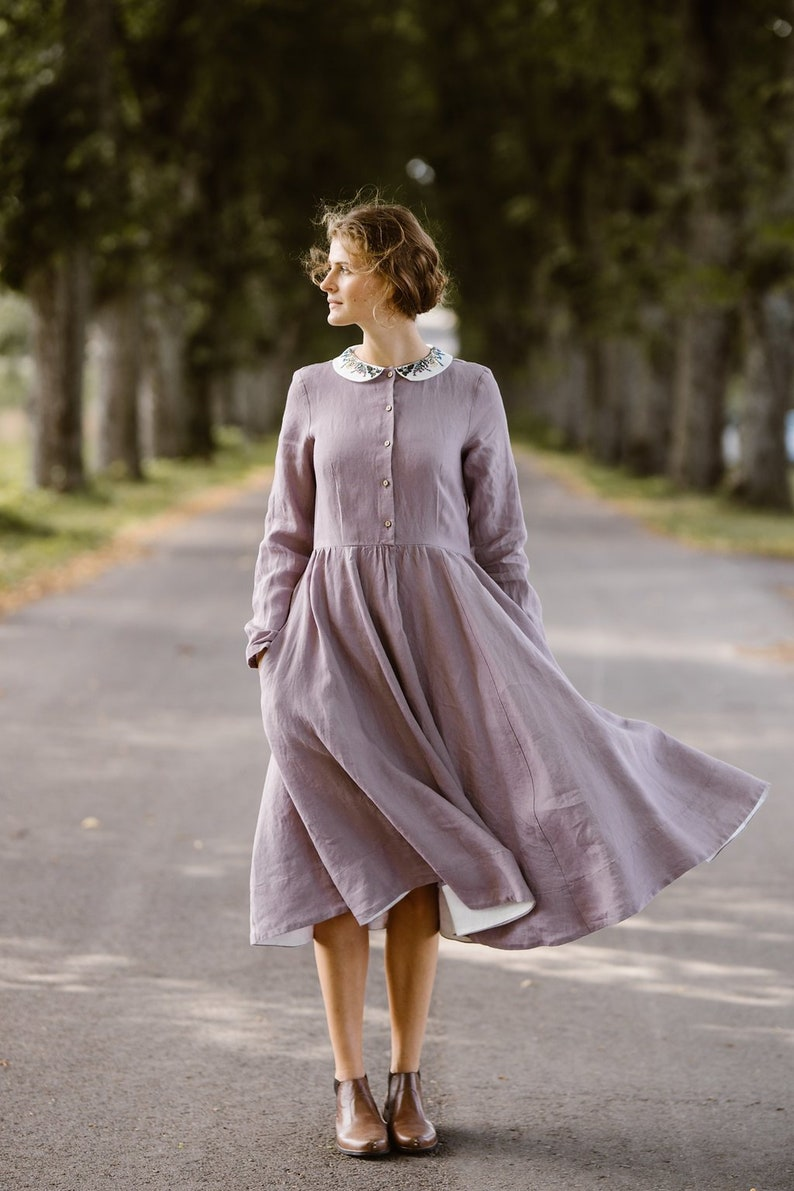 701d437a7a0 Women Linen Dress Embroidery Dress Modest Dress Winter