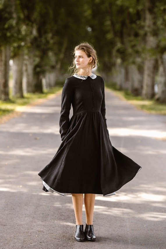 6d8f6f67b0e Embroidery Dress Linen Black Dress Linen Clothing Plus Size