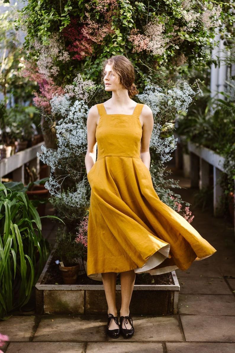 79e9c21bc9a2 Mustard Dress Linen Dress Yellow Dress Pinafore Dress   Etsy