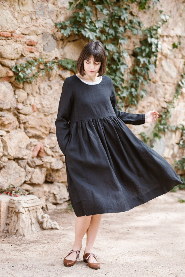 Black Maxi Dress Gothic Dress Linen Kaftan Women Dress Etsy