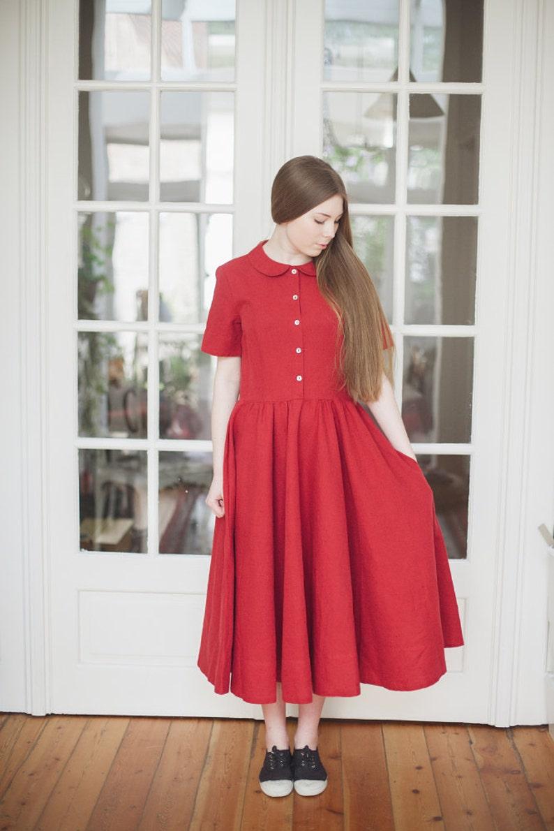 Maxi Dress Women Linen Clothing Linen Red Maxi Dress 1960/'s Dress Peter Pan Collar Dress Linen Clothes  Red Poppy Classic Dress SS