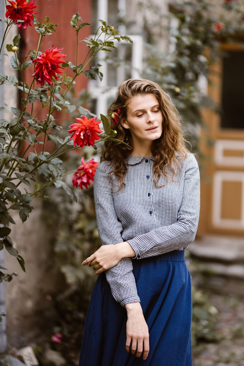 100% Linen Shirt Plaid Linen ShirtsWomen's Linen image 0
