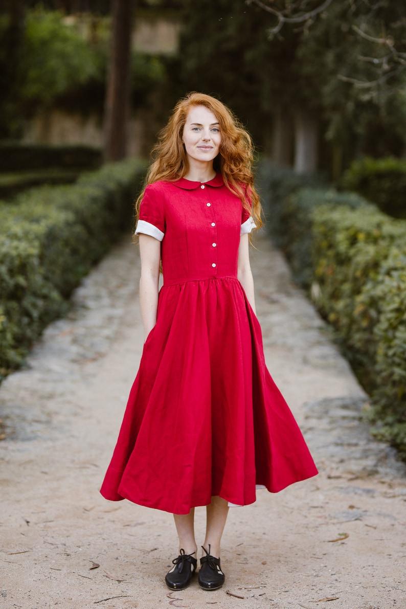 Women Linen Dress Rust Dress Midi Dress Modest Dress Shirt | Etsy