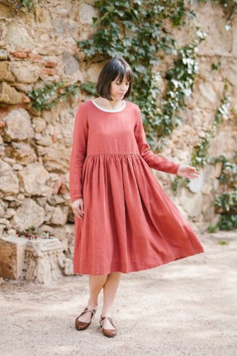 1e5bc44a0bd Women Dress Linen Dress Midi Dress Modest Dress Prairie