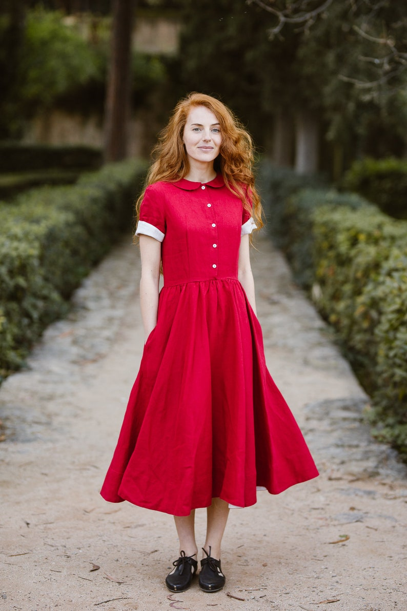 afac134c45a Red Dress Red Linen Dress Short Sleeve Dress Red Summer