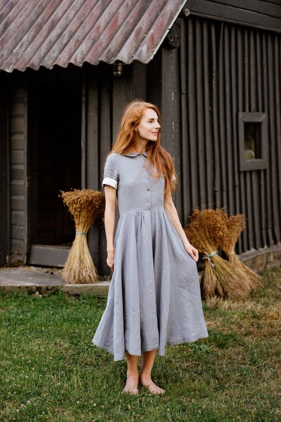 Linen Dress, Shirt Dress, Peter Pan Collar Dress, Linen Maxi Dress, Plus  Size Dress, Midi Dress, Short Sleeve / Classic dress SS Silver Dust