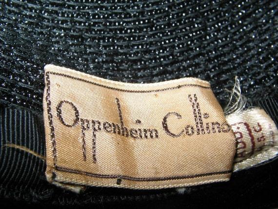 VINTAGE OPPENHEIM COLLINS Navy Blue Straw Hat 195… - image 4