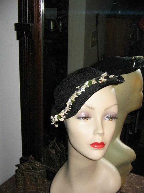 VINTAGE OPPENHEIM COLLINS Navy Blue Straw Hat 195… - image 1