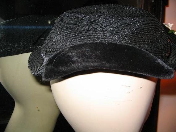 VINTAGE OPPENHEIM COLLINS Navy Blue Straw Hat 195… - image 3