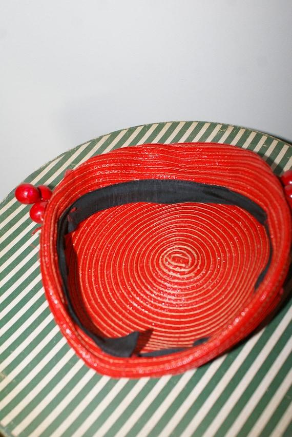VINTAGE 1950's CHERRY HAT Red Straw Hat - image 5