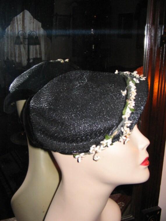 VINTAGE OPPENHEIM COLLINS Navy Blue Straw Hat 195… - image 2