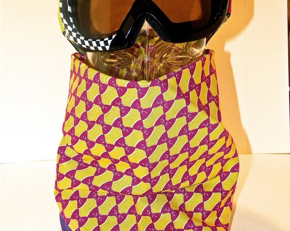 READY to SHIP-Handmade-Kawaii Bows-Yellow/Fuschia/Purple Bandana-Snapback-Snowboarding Face Shield-Unisex