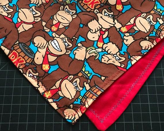 MADE TO ORDER-Handmade Nintendo 64 Donkey Kong Game Fabric Bandana-Customizable Colors-Handmade Bandana Made Just For You