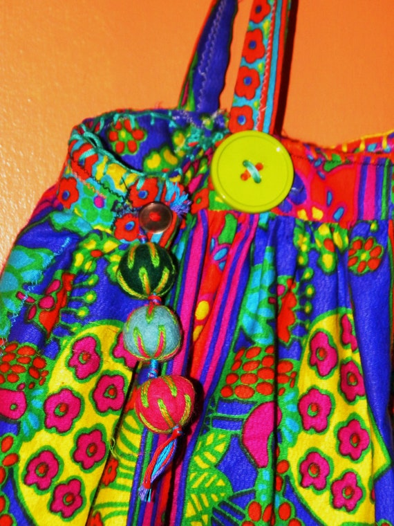 REVERSIBLE Up-Cycled DayGlo Tote/Purse with Secret Stash Pocket made with VINTAGE DayGlo Skirt, Felt and Giant Buttons