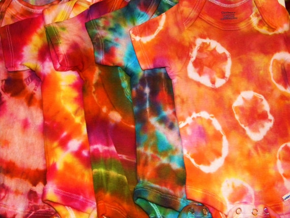 CUSTOM Tie Dyed Baby Onesies Hippie Baby Shower Gift Hand-Dyed using the Highest Quality Pigments