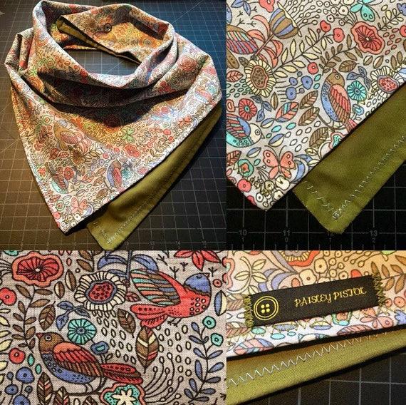 READY TO SHIP-Periwinkle & Sage Handmade Folk Art Bandana-Snapback Bandana-Scarf-Cotton-Unisex