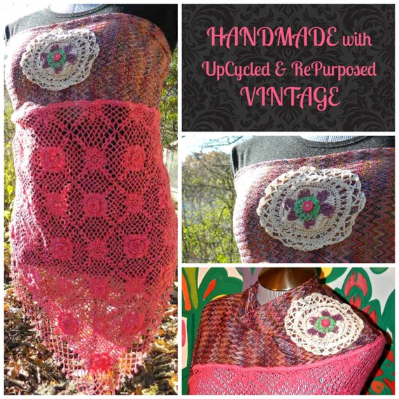 CLEARANCE SALE-50% Off-Multipurposed Wrap: 4-in-1 Tube Top/Shawl/Hip Scarf/Head Wrap~UpCycled Vintage