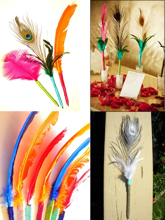 Set of 3 Custom Feather Pens Wedding Book Signing Pens with Cruelty-Free Feathers