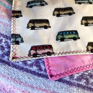 Ready To Ship-PINK-VW Bus Bandana-Unisex Adult Snapback Scarf Neckware-Adjustable Sizing-Cotton-Pink Bandana