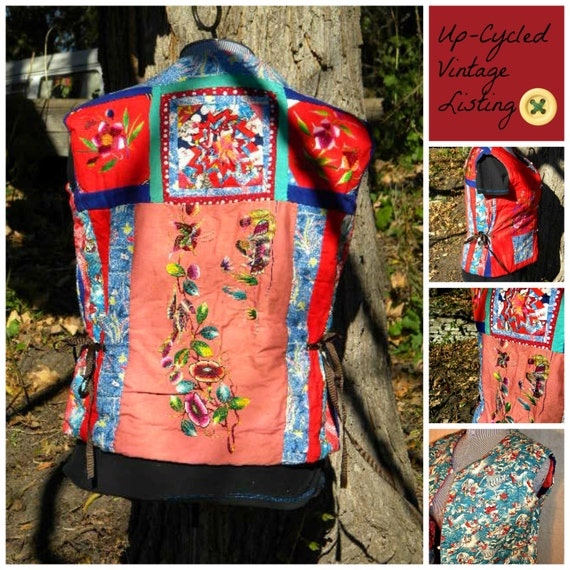 """Up-Cycled VINTAGE HandMade Reversible Unisex """"Snow White"""" 1970's Patchwork Quilt Vest with Side Ties"""