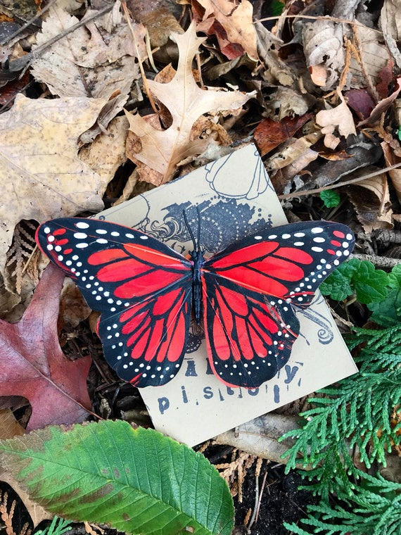 CLEARANCE-Medium Orange Monarch Butterfly Feather Hair Clip