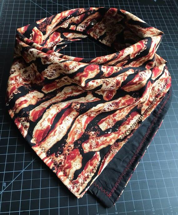 READY TO SHIP-Bacon Bandana-Snapback-Double Layered-Red and Black Bacon Bandana