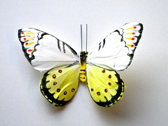 REDUCED PRICE-Antique White & Pastel Yellow Feather Butterfly Hair Clip